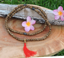 Antiqued Carved Flower Yak Bone 108 Mala with dZi Bead Spacers