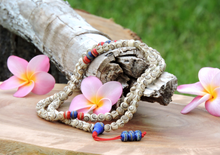 Carved Yak Bone 108 Mala with Red and Blue Medicine Bead Spacers