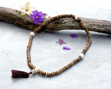 Antiqued Yak Bone 108 Mala with Conch Shell Spacers and Conch Shell Guru Bead