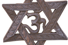 Hand Crafted Wooden six point star Om wall hanging