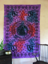 Buddha OM Tie-dyed Tapestry-Purple, Blue & Red