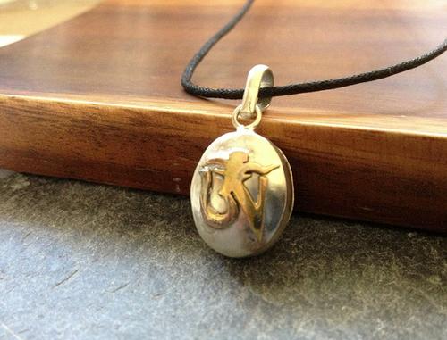 White Metal Tibetan Om Amulet Ga'u Locket Pendant From Nepal
