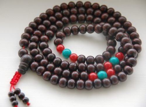 Rosewood mala with turquoise and coral spacers