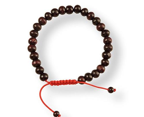 Rosewood Tibetan Wrist Mala/Bracelet for Meditation - Red String