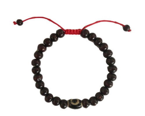 Rosewood wrist mala/ bracelet with dzi bead