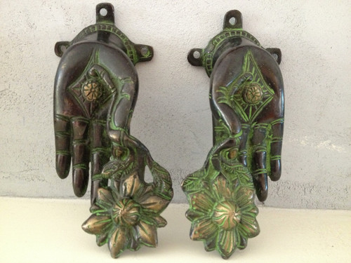 A Pair of Brass Buddha hand Wall Hanging/ door handle