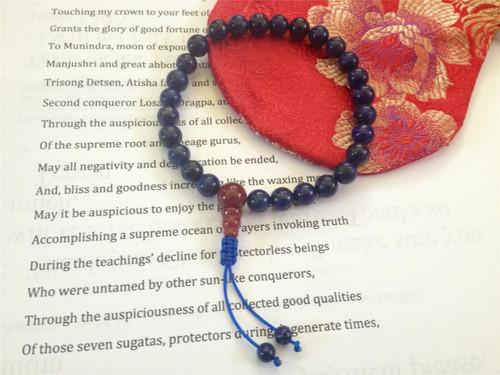 Lapis Lazuli Wrist mala 27 beads with guru bead