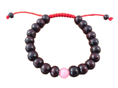 - Rosewood wrist mala with rose quartz spacer