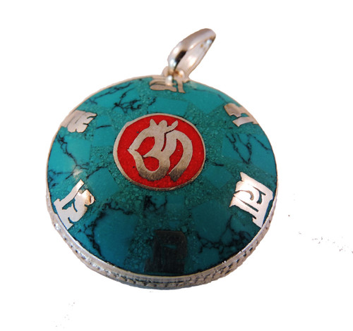 Turquoise Coral Om Mani Pendant free silk bag