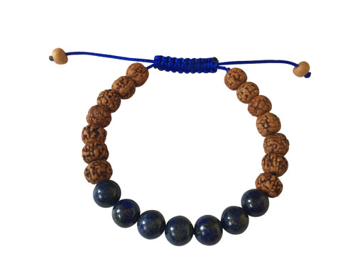 Rudraksha and Lapis Lazuli Wrist Mala Yoga Bracelet