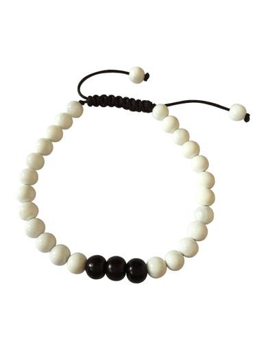 Small Conch Shell and Rosewood Wrist Mala Yoga Bracele