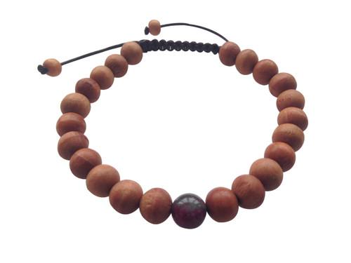 Wood Bead Wrist mala Bracelet with Blood Stone