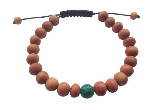 Wood Bead Wrist mala Bracelet with green jade spacer