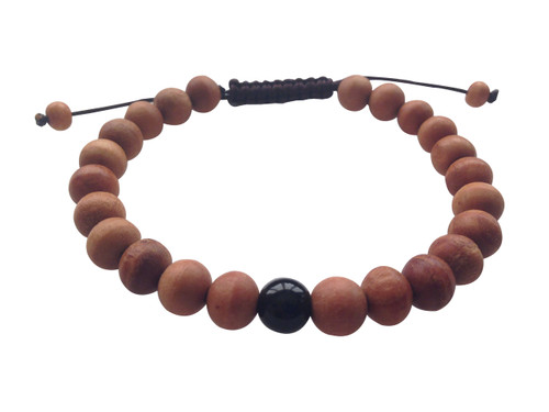 Wood Bead Wrist mala Bracelet with black onyx spacer