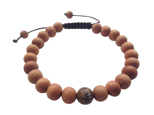 Wood Bead Wrist mala Bracelet with carved om mani conch shell spacer