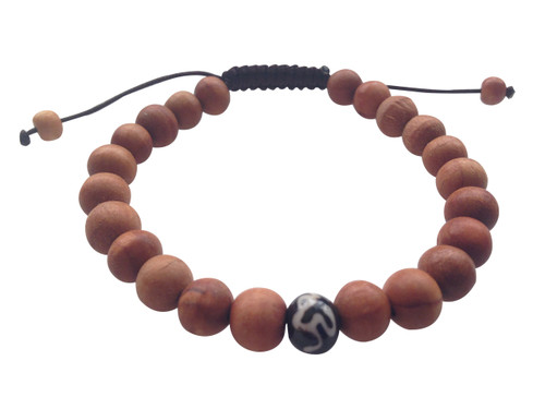 Wood Bead Wrist mala Bracelet with Om mani Bone spacer
