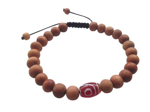 Wood Bead Wrist mala Bracelet with Red Dzi bead spacer