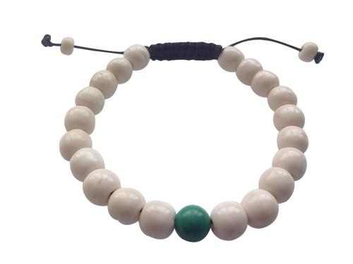 Yak bone Wrist mala with Tibetan Turquoise Spacer