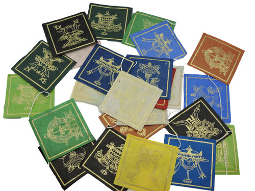 Handmade paper Mini Eight Lucky symbol Prayer flags