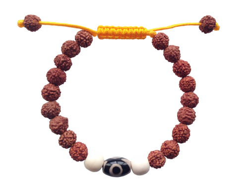 Two Eye Dzi Bead and Rudraksha Wrist mala Bracelet