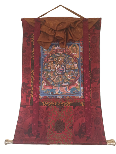 Antiqued Hand painted Wheel of Life Thangka painting with Silk Brocade
