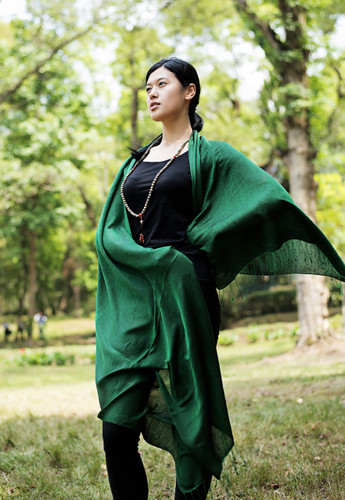 Handmade Pashmina Water Shawl from Nepal many colors (Dark Green)