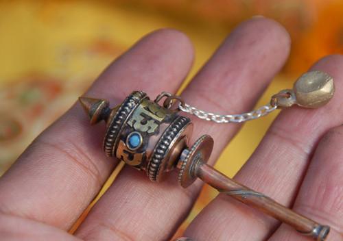 Handmade Mini pocket size Tibetan prayer wheel
