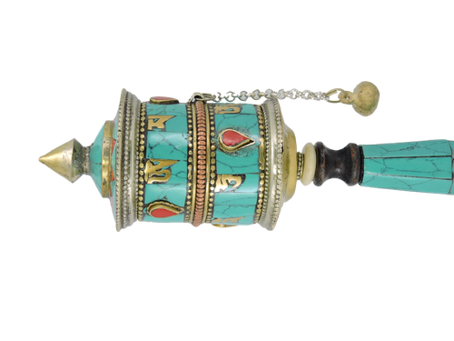 Turquoise Buddha of compassion prayer wheel
