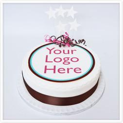 Round corporate logo cakes