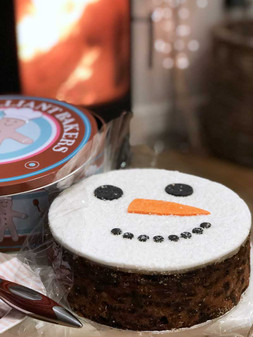Snowman Christmas Fruit Cake