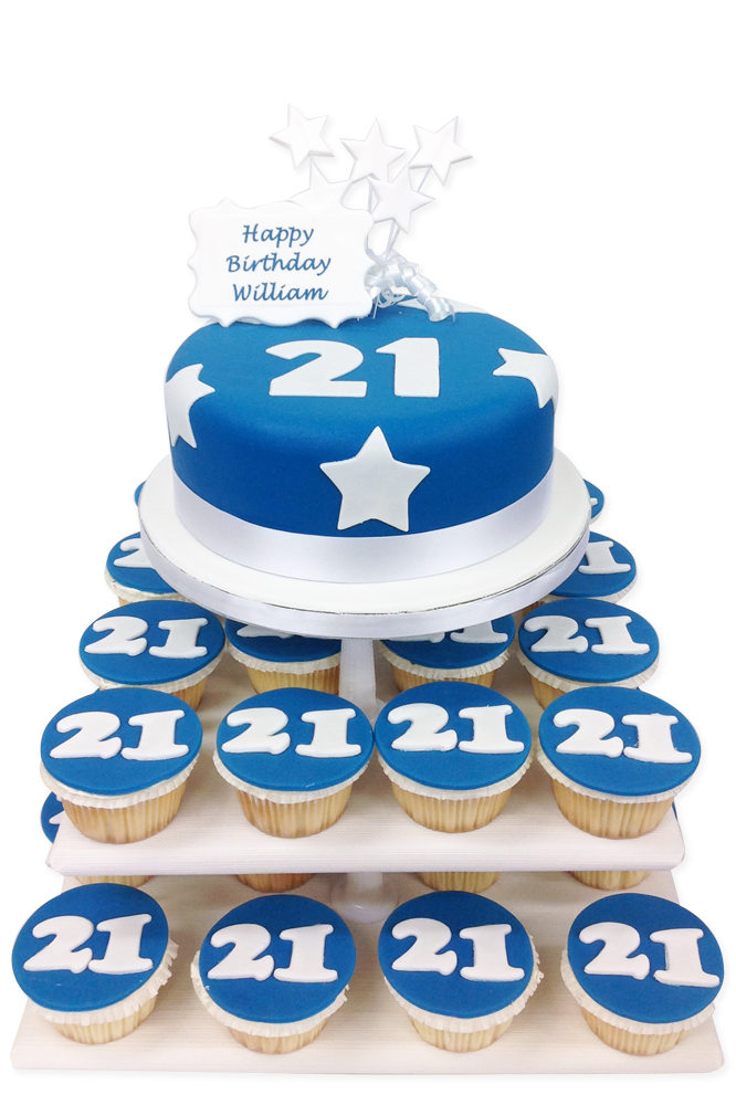 Birthday Blue Numbers Cake Tower Cupcake Towers The Brilliant Bakers