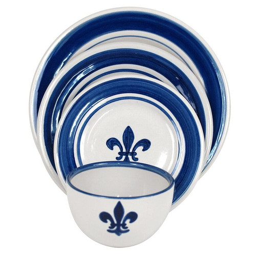 Fleur de Lis Place Setting in Blue