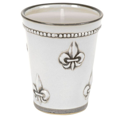 11 OZ Julep Cup with Soy Candle in Embossed Fleur de Lis