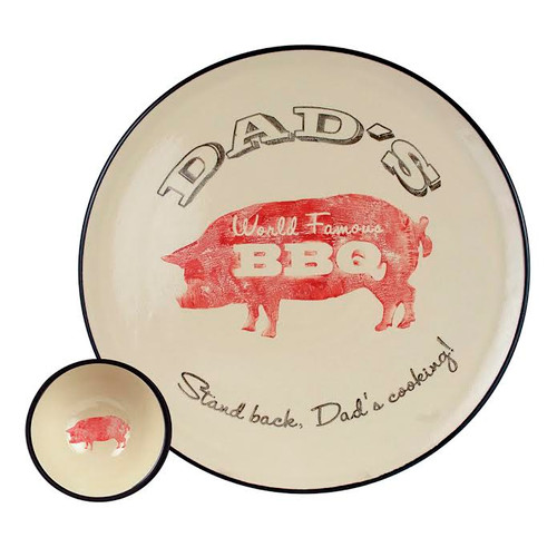 "16"" Round Dad's World Famous BBQ Platter with Bowl Set"