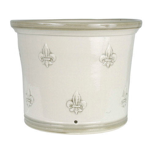 "13"" Fluer de Lis Flower Pot in Special Grey"