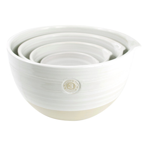4 Piece Louisville Pottery Collection Nested Mixing Bowl Set in White