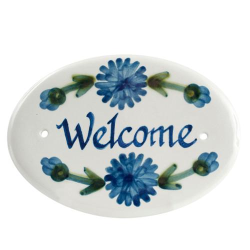 "8"" Oval Door Plaque in Bachelor Button"