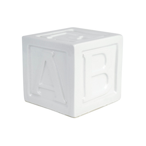 "5"" ABC Block Bank in White"