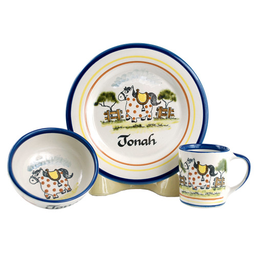 Personalized 3 - Piece Child's Place Setting with Happy Horse