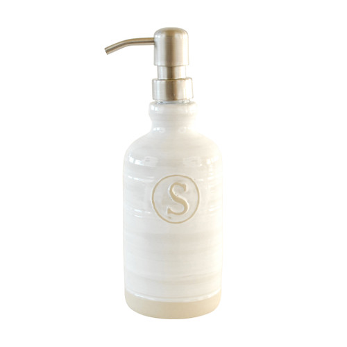 Tall Liquid Soap/Lotion Dispenser with (S) Emblem in Louisville Pottery Collection (White)