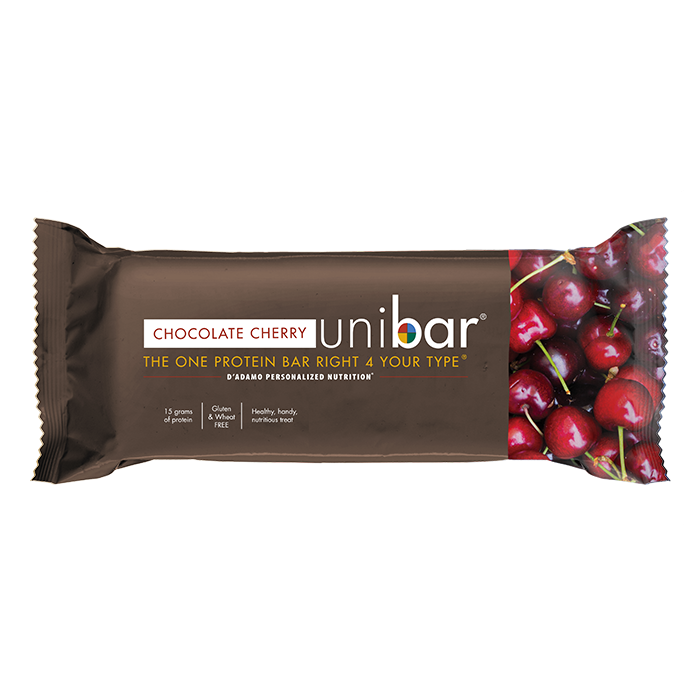 The Chocolate Cherry Unibar offers 15 grams of blood-type friendly protein.