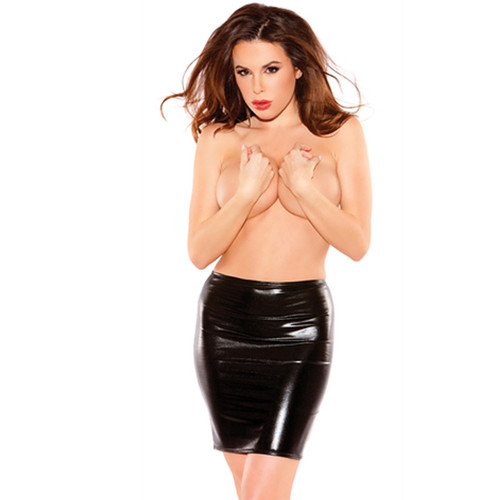 Sexy Siren Black Faux Leather Skit