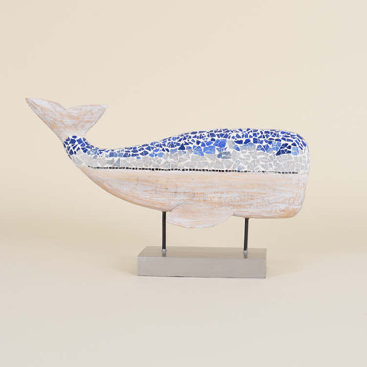 16-070 Wooden Whitewashed Mosaic Whale On Stand