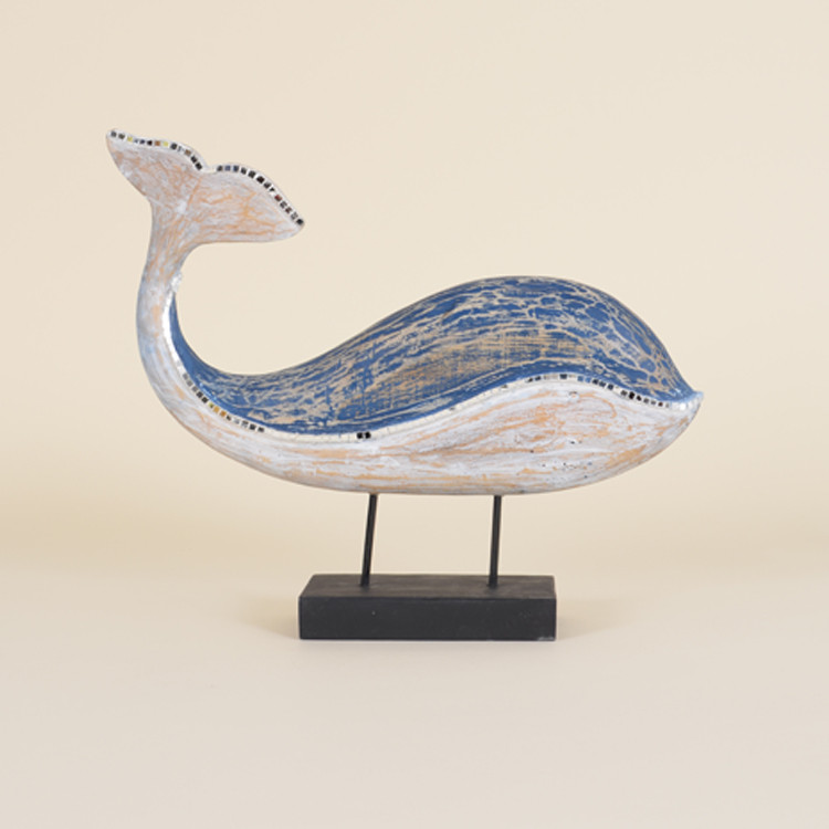 16-071 Wooden Mosaic Whale On Stand