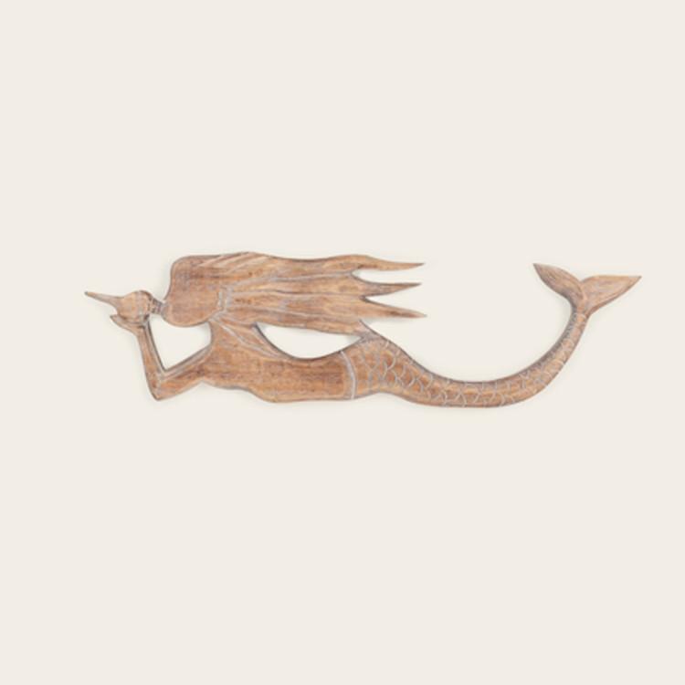16-117  Carved Wood Mermaid Wall Hanging