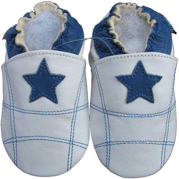 shoeszoo blue star white 0-6m S soft sole leather baby shoes