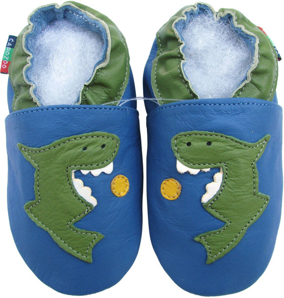 shoeszoo shark blue 0-6m S new soft sole leather baby shoes