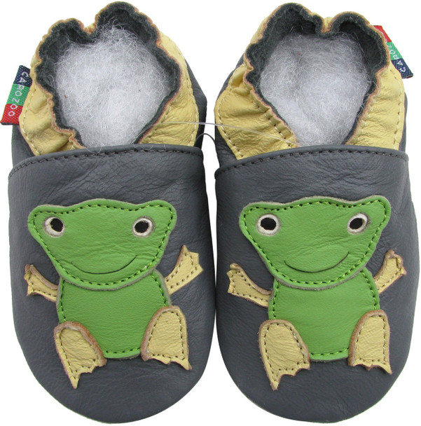 shoeszoo frog grey 0-6m S new soft sole leather baby shoes