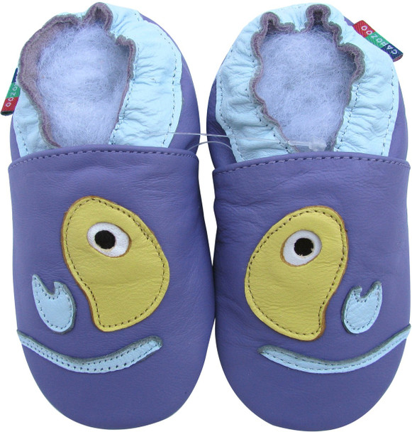 Shoeszoo fish purple 0-6m S new soft sole leather baby shoes
