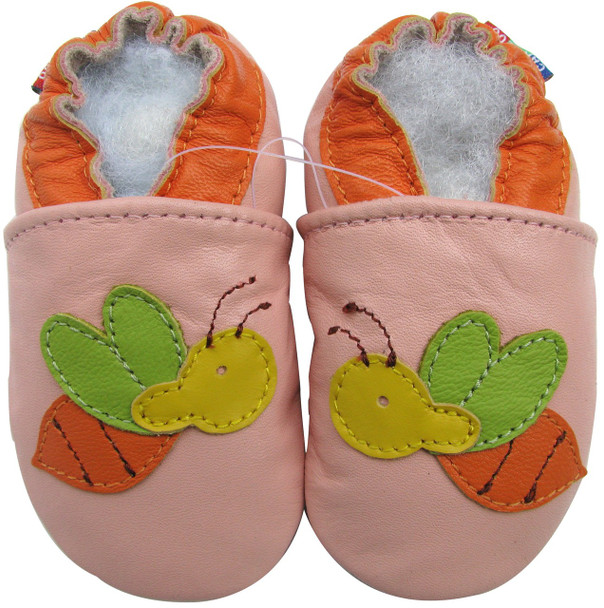 carozoo bee pink 0-6m soft sole leather baby shoes